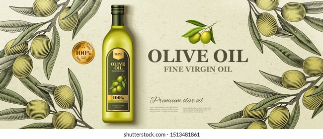 Flat lay olive oil ads with woodcut style olive branch in 3d illustration