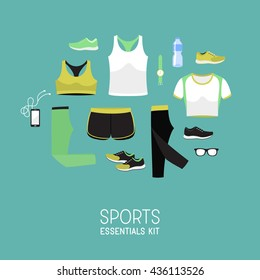 Flat lay sport women clothes. Gym basic shoes / tee / pants. Lady sports wear. Graphic vector illustration.