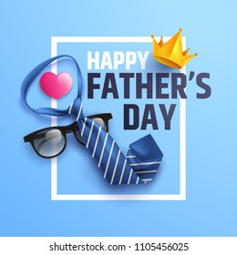 Flat lay style of Happy Father's Day inscription with necktie and glasses on blue background.Greetings and presents for dad.Vector illustration EPS10