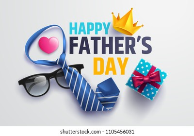 Flat lay style of Happy Father's Day inscription with necktie,glasses and gift box for dad.Greetings and presents.Vector illustration EPS10