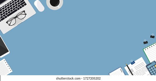 Flat lay, top view office table. Workspace with blank notebook, document, glasses and coffee cup on blue background.