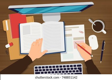 Flat lay working desk vector illustration. Computer desk with papers, book, keyboard, computer display, hands. Education process