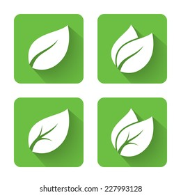 Flat leaves icons. Vector illustration