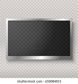 Flat led monitor of computer or frame isolated on a transparent background. Vector blank screen lcd, plasma, panel or TV for your design