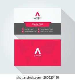 Flat A Letter Logo World Map Business card template
