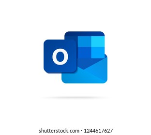 flat letter O in blue shape with mail icon vector illustration