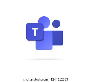 flat letter T icon with people icon vector illustration