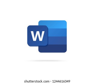 flat letter W icon with blue gradient icon vector illustration
