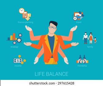Flat life balance many armed young man abstract shiva lifestyle concept. Male figure with multi hands pointing to work income finance planing strategy family travel friendship aspects.