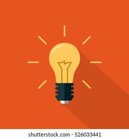 Flat Light bulb Icon on an Orange Background