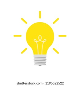 Flat lightbulb idea concept illustration. Isolated white background.