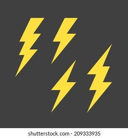 Flat lightning symbols set. Vector.