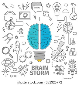 Flat Line Art concept of a brainstorm. Innovation and solution. business idea, vector illustration, Planning, distribution, setting goals, organizing, drawing up lists and prioritizing