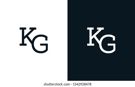 Flat line art letter KG logo. This logo icon incorporate with two letter K and G in the creative way.