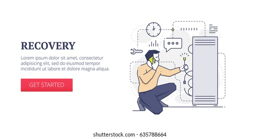 Flat line banner design template of server recovery, repairing and fixing problems and technical support. Vector modern blue line illustration with text sample and button
