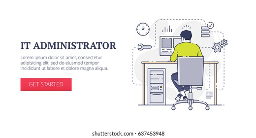 Flat line banner design template of technical support, database services and system administration processes. Vector modern blue line illustration with text sample and button