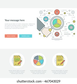 Flat line Business Concept Web Site Header Vector illustration. Modern thin linear stroke vector icons. For website graphics, Mobile Apps, Web Page Layout design. Vector Icons.