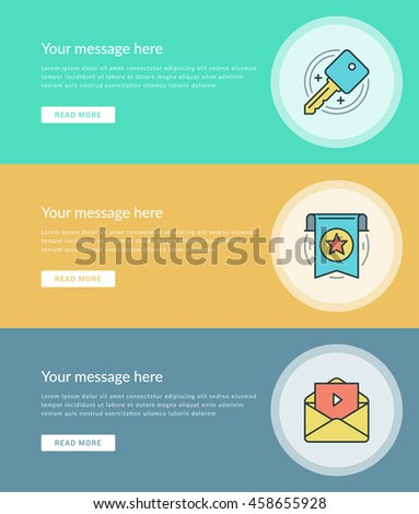 Flat Line Business Concept Web Site Stock Vector (Royalty