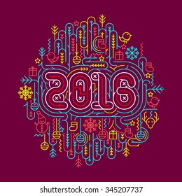Flat line Christmas and New Year 2016 vector illustrations for greeting cards, banners