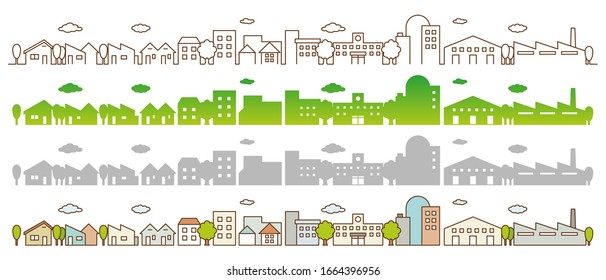 Flat Line City Street Landscape View Concept with Buildings, Roads, Trees.