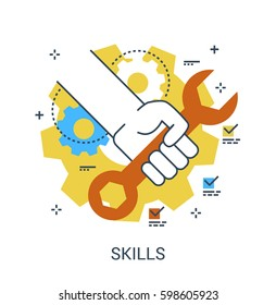Flat Line Color icon concept of Skills, Service, Opportunities. Hand with a wrench. Repair or Maintenance symbol