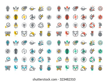 Flat line colorful icons collection of renewable energy, green technology, ecology, environment, life with nature, natural products and power