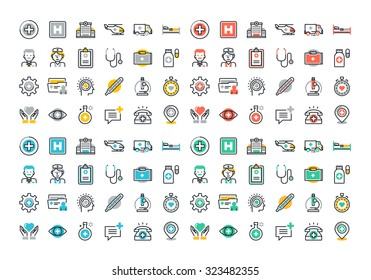 Flat line colorful icons set of healthcare and medicine, medical services and support, health care facility, emergency medical services, transport of patients, diagnosis, treatment and laboratory.