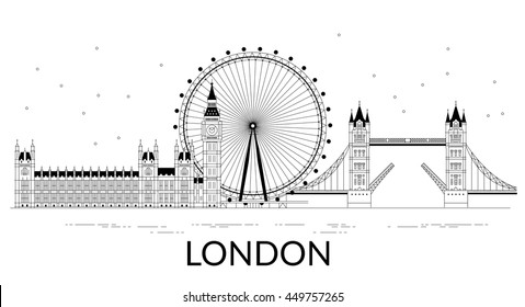 Flat line colorful illustration of London. Template for travel, adventure, vacation. Concept for web banners and printed materials. Template with buttons for website banner and landing page.