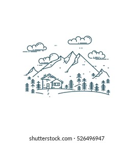 Flat line concept with house, trees and mountains. Trendy vector design house, eco house.