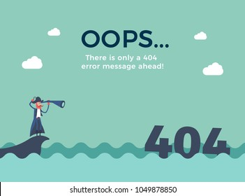 Flat line concept for page not found 404 error. Vector illustration background with a pirate sailing in the sea that just found a 404 error message with his telescope.