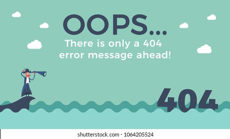 Flat line concept for page not found 404 error. Vector illustration background with a pirate sailing in the sea finding the 404 number floating in the water