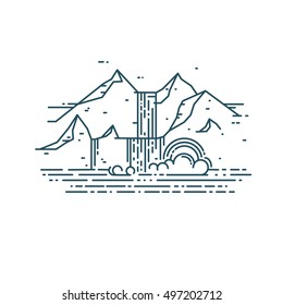 Flat line consept with waterfall and mountain. Trendy vector design
