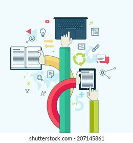 Flat line design concept for education. Concept for web banners and printed materials.