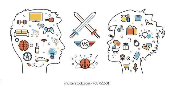 Flat line design concept of thought opposition woman favorite interests versus  man favorite interests, dream, idea, desire, wish, habits. Men vs women. Website blog banner, infographic elements