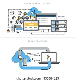 Flat line design concepts for big data architecture, big data technology, database analytics, mobile cloud computing, cloud platform and solutions, for website banner and landing page.