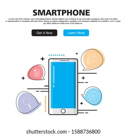 Flat Line design graphic image concept, website elements layout of Smartphone. Icons Collection of Creative Work Flow Items. Vector Illustration