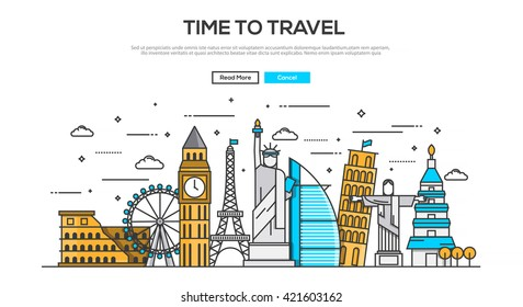 Flat Line design graphic image concept, website elements layout of  Time to Travel. Icons Collection of Creative Work Flow Items and Elements. Vector Illustration