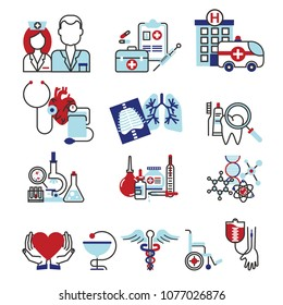 Flat line design icons composition set, medicine concept, clinic and hospital facilities. Modern vector illustration for web design, marketing and print material.