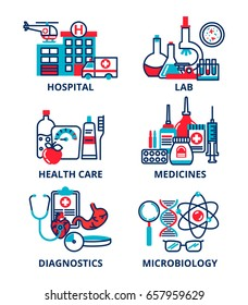 Flat line design icons set, medicine concept, clinic and hospital facilities. Modern vector illustration for web design, marketing and print material.