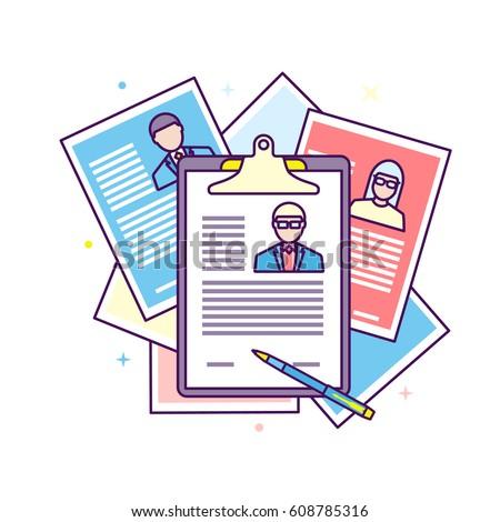 Flat Line Design Illustration Curriculum Vitae Stock Vector Royalty