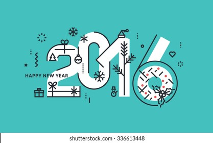Flat line design New Year's vector illustration for greeting card and banner.