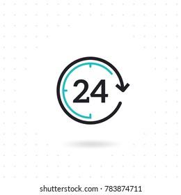 Flat line design open 24 hours. Non stop working shop or service. Outline clock symbol. Twenty four hours icon. Colored flat line vector illustration
