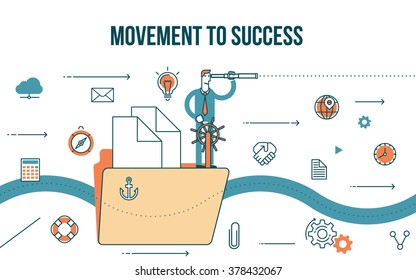 Flat line design style modern illustration of a business concept, a businessman on a ship sailing to success, finance icons
