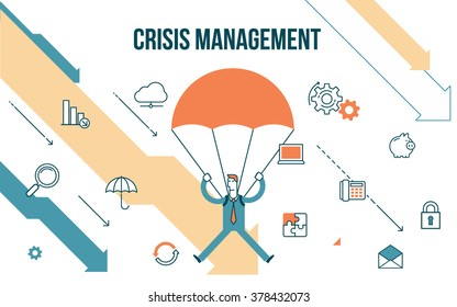 Flat line design style modern illustration of a business concept, businessman down on a parachute to escape the financial crisis. On the background of falling arrows graphs