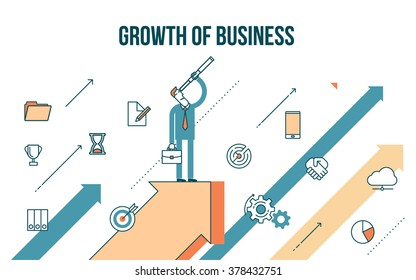 Flat line design style modern illustration of a business concept, businessman rises on the arrow graph growth
