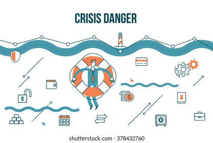 Flat line design style modern illustration of a business concept, businessman floating on the lifebuoy to escape the financial crisis