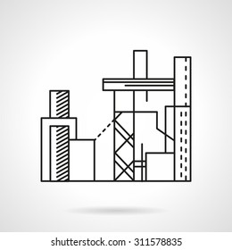 Flat line design vector icon for plant of compound feed. Industrial buildings, manufacturing, agriculture. Design elements for business and website