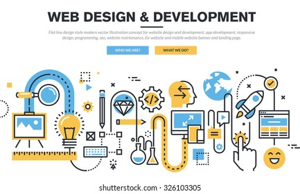 Flat line design vector illustration concept for website design and development, app development, responsive design, programming, seo, website maintenance, for website banner and landing page.