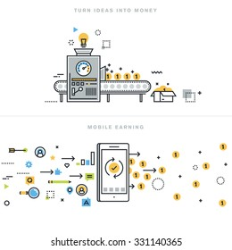 Flat line design vector illustration concepts for earning money online, mobile earning, business ideas, turning ideas into money, business consulting, mobile commerce, for website banner.