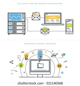 Flat line design vector illustration concepts for big data and data base networking, network folder sharing, database analysis, database server, computer network technology, for website banner.